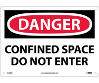 Danger Confined Space Do Not Enter 10X14 Rigid Plastic