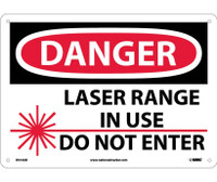 Danger Laser Range In Use Do Not Enter Graphic 10X14 .040 Alum