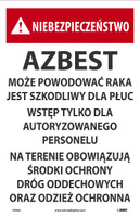 Danger Asbestos May Cause Cancer (Polish) 17X11 Paper 100/Pk