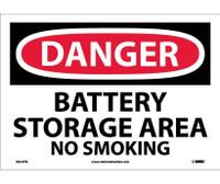 Danger Battery Storage Area No Smoking 10X14 Ps Vinyl