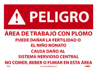 Peligro Area De Trabajo Con Plomo 10X14 Paper 100/Pk