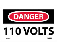 Danger 110 Volts 3X5 Ps Vinyl 5/Pk