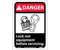 Danger Lock Out Equipment Before Servicing (W/Graphic) 10X7 Ps Vinyl