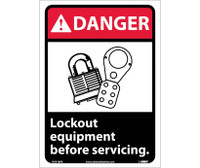 Danger Lock Out Equipment Before Servicing (W/Graphic) 14X10 Ps Vinyl