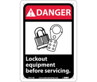 Danger Lock Out Equipment Before Servicing (W/Graphic) 10X7 Rigid Plastic