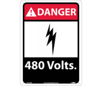 Danger 480 Volts 14X10 Rigid Plastic