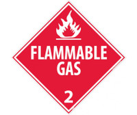 Placard Flammable Gas 2 10 3/4X10 3/4 Ps Vinyl