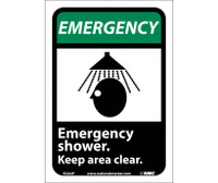 Emergency Emergency Shower Keep Area Clear (W/Graphic) 10X7 Ps Vinyl