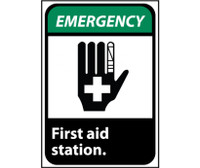 Emergency First Aid Station (W/Graphic) 14X10 .040 Alum
