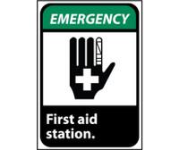 Emergency First Aid Station (W/Graphic) 10X7 Rigid Plastic