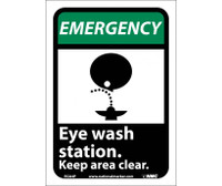 Emergency Eye Wash Station Keep Area Clear (W/Graphic) 10X7 Ps Vinyl