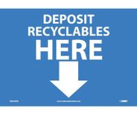 Deposit Recyclables Here (Arrow) 10X14 Ps Vinyl