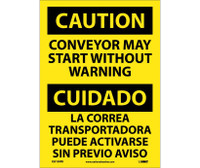 Caution Conveyor May Start Without Warning Bilingual 14X10 Ps Vinyl