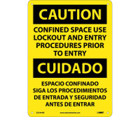 Caution Confined Space Use Lockout And Entry Procedures Prior To Entry Bilingual 14X10 .040 Alum