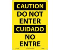 Caution Do Not Enter Bilingual 14X10 Rigid Plastic