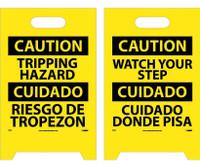 Floor Sign Dbl Side Caution Tripping Hazard Caution Watch Your Step (Bilingual) 19X12