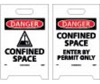 Floor Sign Dbl Side Danger Confined Space Danger Confined Space Enter By Permit Only 19X12