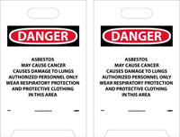 Floor Sign Dbl Sided Danger Asbestos May Cause Cancer Causes Damage To Lungs Authorized Personnel Only 19X12