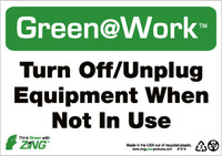 Turn Off/Unplug Equipment When Not In Use 7X10 Recycle Plastic