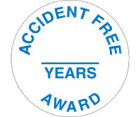 "Accident Free Award ______ Years 2"" Dia Ps Vinyl 25/Pk"