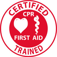 "Hard Hat Label Certified Cpr First Aid Trained 2""Dia. Reflective Ps Vinyl 25/Pk"