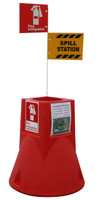"Jobsite Caddy W/ Spill Kit & 6' White Pole & 2 X 10"" X 7"" Alum. Signs: Exting. & Spill Kit 29"" X 26"" Diameter 13 Lbs 11"" Deep Well For 5/10/20 Lb Fire Extinguisher Red"