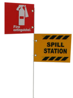 "Jsc 5' Pole Only W/ 10"" X 7"" Alum. Fire Extinguisher And Spill Kit Signs"