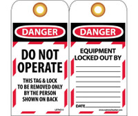 Tags Lockout Do Not Operate 6X3 Unrip Vinyl 25/Pk      Grommet