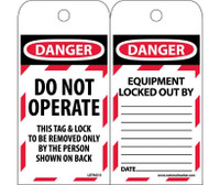 Tags Lockout Danger Do Not Operate This Tag & Lock. . . 6X3 Polytag Box Of 100