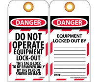 Tags Lockout Do Not Operate Equipment Locked Out 6X3 Unrip Vinyl 25/Pk     Grommet