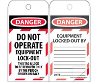 Self Laminating Tags Lockout Danger Do Not Operate Equipment Lock-Out. . . 6X3 Polytag Box Of 150