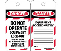 Tags Danger Do Not Operate Equipment Lock Out 6X3 Synthetic Paper 25/Pk (Hole)
