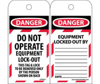 Tags Lockout Danger Do Not Operate Equipment Lock-Out. . . 6X3 Polytag Box Of 100