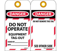 Tags Danger Do Not Operate Equipment Tag-Out 6X3 Synthetic Paper 25/Pk (Hole)