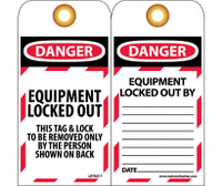 Tags Danger Equipment Locked Out 6X3 Synthetic Paper  25/Pk (Hole)