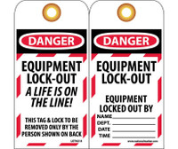 Tags Lockout Danger Equipment Lock Out. . . 6X3 Unrip Vinyl     Gromet Pack Of 10