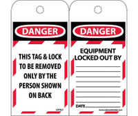 Tags Lockout Danger This Tag & Lock To Be Removed Only. . . 6X3 Polytag Box Of 250