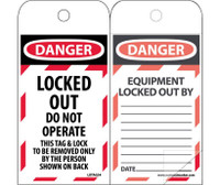 Self Laminating Tags Lockout Danger Locked Out Do Not Operate 6X3 Polytag Box Of 150