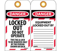 Tags Danger Locked Out Do Not Operate 6X3 Synthetic Paper 25/Pk (Hole)
