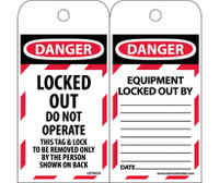Tags Lockout Danger Locked Out Do Not Operate 6X3 Polytag Box Of 250