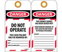 Tag Danger Do Not Operate 6X3 Unrip Vinyl 25/Pk     Grommet