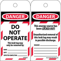 Tags Lockout Danger Do Not Operate Do Not Operate This Lock/Tag May Only Be Removed By: 6X3 Polytag Box Of 100