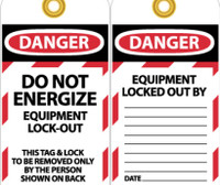 Tags Danger Do Not Energize Equipment Lock Out 6X3 Synthetic Paper 25/Pk (Hole)