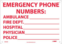 Emergency Phone Numbers Ambulance Fire.. 10X14 .040 Alum