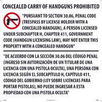 30X30 Texas Concealed Handgun Prohibited Sign Aluminum Composite Panel(Acp.125)