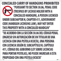 24 X 24  Texas Concealed Handgun Prohibiited Sign .050 Rigid Plastic
