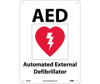 Aed Automated External Defibrillator (With Graphic) 10X14 Rigid Plastic