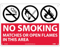 (Graphics) No Smoking Matches Or Open Flames In This Area 10X14 .040 Alum