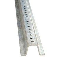 Sign Post Steel 6 Ft. 2# Galvanized Finish Punched With 3/8 Dia. Holes 1 In. On Center Full Length