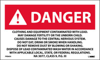 Labels Danger Clothing And Equipment Contaminated With Lead. Na 3077 Class 9 P.G. Iii 3X5 Ps Paper 500/Rl
